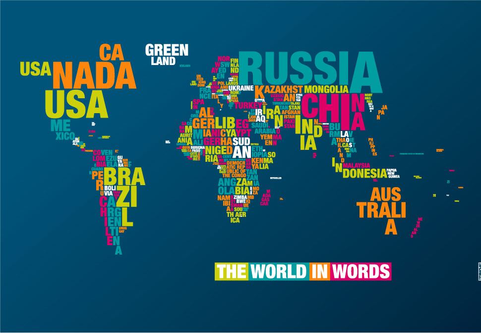 world map words